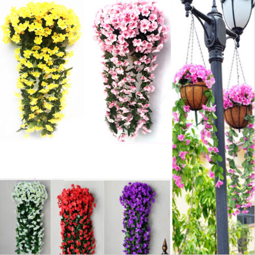 2 Pcs Artificial Fake Violet Orchid Flowers Hanging Wall Rattan Basket Decor D