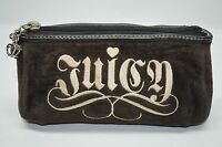 Juicy Couture Brown Velour Leather Trim Small Zip Cosmetic Bag Purse