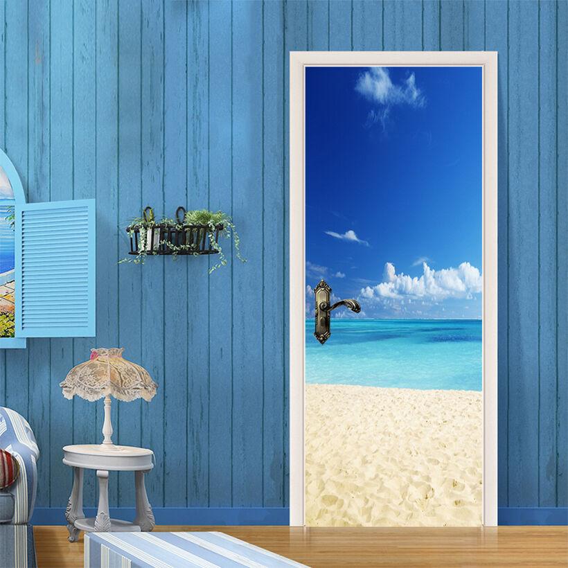3D Ozean Strand 4 Tür Mauer Wandgemälde Foto Wandaufkleber AJ WALL DE Lemon