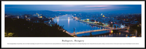 Budapest Hungary City Night Skyline Danube River Chain Bridge Framed Picture I