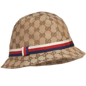 b5c13f92 Details about NWT NEW Gucci kids boys girls classic GG supreme fedora hat  GG S 411790