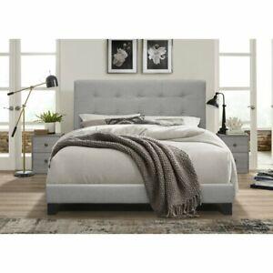 Bedroom 3pc Set Gray Modern Furniture Bed Headboard & 2 Nightstands
