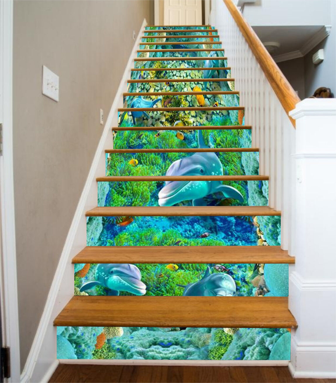 3D Sea dolphin 352 Stair Risers Decoration Photo Mural Vinyl Decal Wallpaper UK
