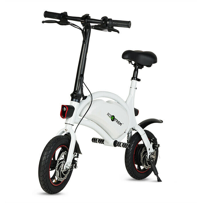 Bicicleta electrica plegable mini 250w bateria 36v 8Ah ligera 20km color blanco