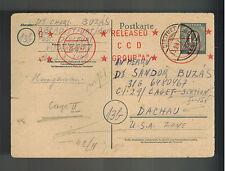1947 Germany to Dr Sandor Buzas Dachau War Criminal Detainee Camp Postcard Cover