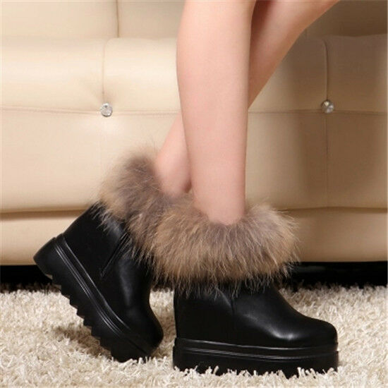 UK Women's Fur Platform Hidden Wedges Studs High Heels Ankle Boots shoes Creeper