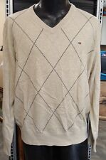 Tommy Hilfiger Mens Size Large Beige Long Sleeve PullOver V-Neck Argyle Sweater