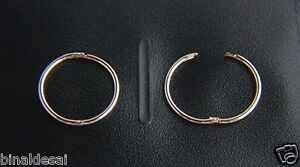9ct Gold 13mm Small Plain Hinged Hoop SLEEPER EARRINGS PAIR Girls Mums GIFTBOX