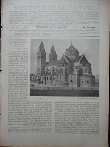 Enthousiaste 1905 Sdt. Bauzeitung Munich Benno église-afficher Le Titre D'origine Sans Retour
