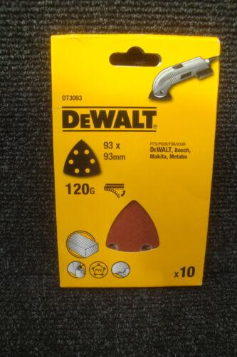 DEWALT DT3093 10 DETAIL SANDER SANDING SHEETS 120GRIT 93MM X 93MM D26430 DCS355