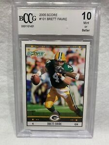 BRETT-FAVRE-2005-Score-101-Beckett-BCCG-Gem-Mint-10-Football-Card-Graded