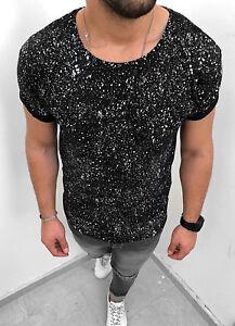 los angeles ed720 6f921 Details zu Oversize T-Shirt Schwarz Herren Design Punkte Kurzarm Club Shirt  Unikat S-XL NEU
