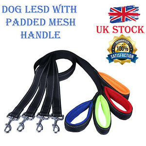NYLON-DOG-LEAD-with-Mesh-PADDED-HANDLE-Choice-of-Black-Blue-Red-Green-Orange