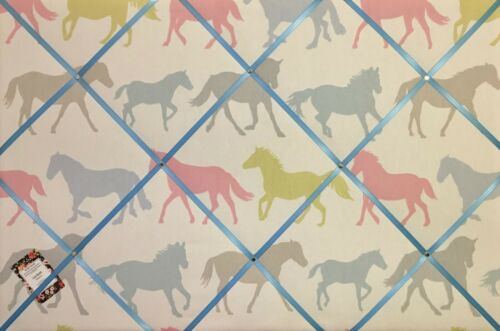 Clarke /& Clarke Stampede Sorbet Horse Blue Ribbon Crafted Fabric Notice Board