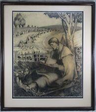 Schäfer mit Buch & Schafe Handzeichnung / Kohlezeichnung Arnsberg