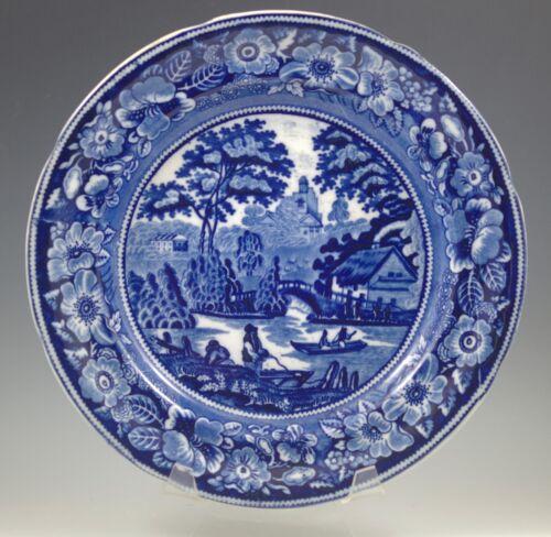 "s ANTIQUE GEORGE JONES WILD ROSE  FLOW BLUE DINNER PLATE 10.1//2/"""