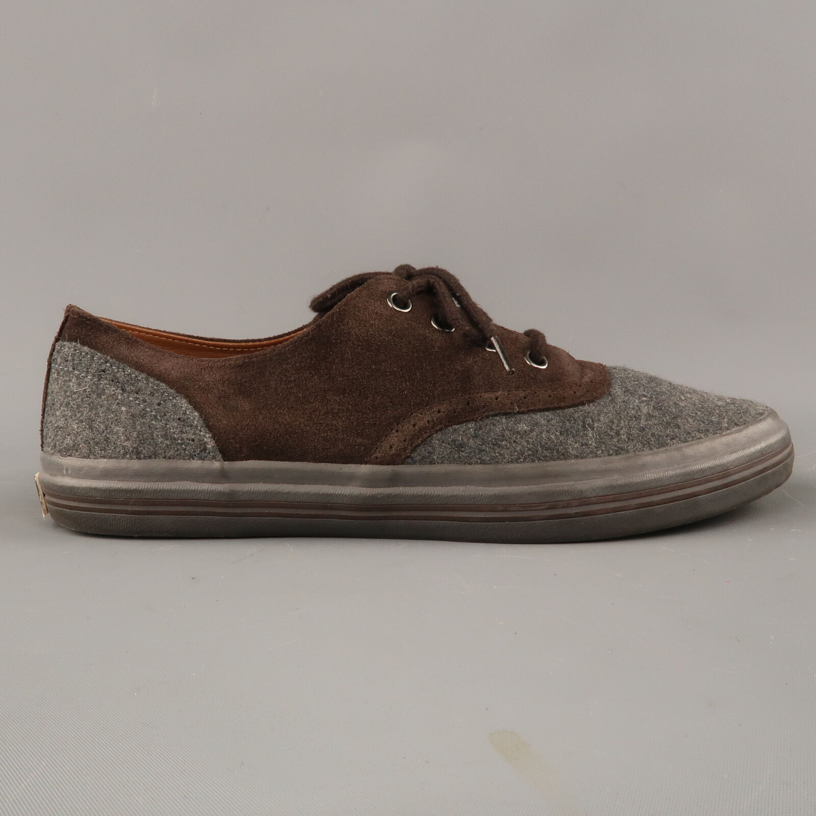 RALPH LAUREN Size 8.5 Grey & Brown Wool & Suede Lace Up Sneakers
