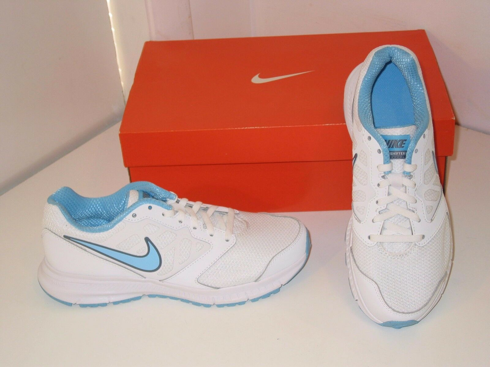 Nike Downshifter 6 Running Trainer White Blue Mesh Sneakers Shoes Womens 7.5