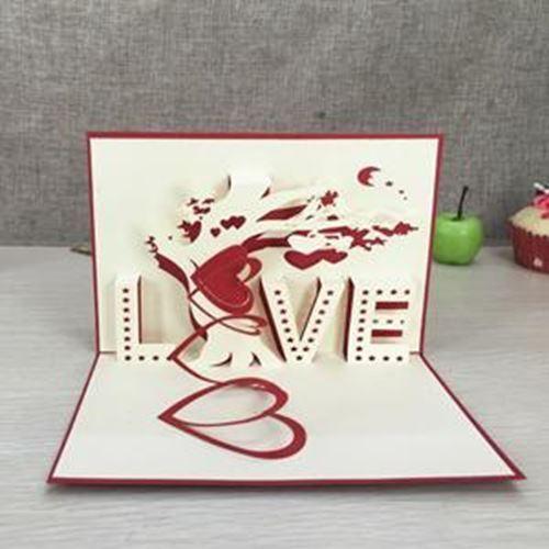 1pcs Handmade 3D Laser Cut Paper Greeting Pop Up Kirigami Card