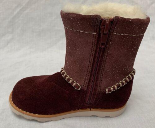 BNIB Clarks Baby Girls Crown Piper Burgundy Suede Air Spring Boots