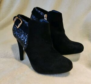Xti-Ladies-Black-Suedette-Ankle-Boots-Size-6-39-with-gold-amp-glitter-trim-detail