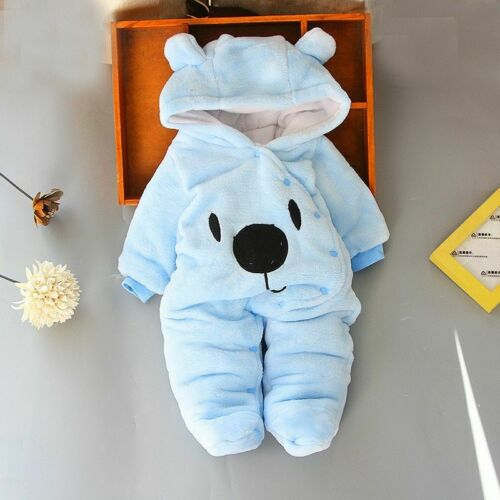 Winter Baby Clothing Velvet Overalls Hooded Cute Rompers Infant Unisex Jumpsuits