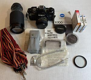 Minolta-X-700-35mm-SLR-Film-Camera-with-2-Lenses-Flash-Filters-Strap-Bag