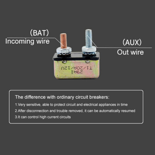 DC 12V Car Truck Boat Electrical Control Automatic Reset Metal Circuit Breakers