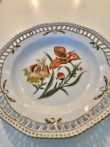 Chelsea-House-Porcelain-Botanical-Plate-Orange-Flowers-Allium-and-Tiger-Flower