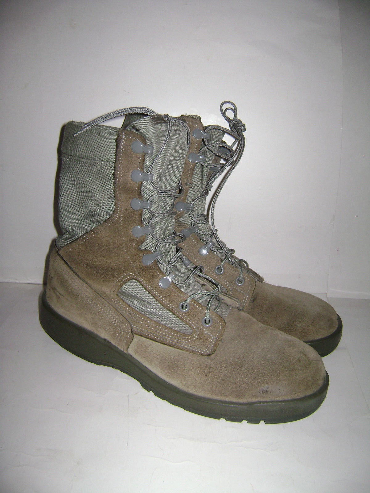 BELLEVILLE MENS BROWN GREEN SUEDE CANVAS STEEL TOE MILITARY JUNGLE BOOTS SZ 9.5