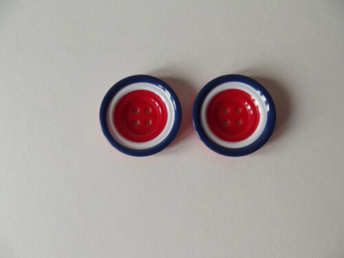 Approx 34mm CRAFT// FASHION 2 x RED,WHITE /& BLUE SAUCER SHAPED BUTTONS ~ 54L