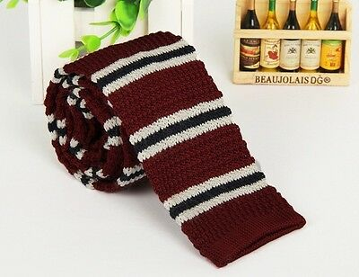 Men/'s Burgundy Striped Knit Knitted Tie Necktie Narrow Slim Skinny Wove ZZLD305