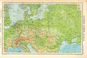 Details about 1952 MAP ~ CENTRAL EUROPE PHYSICAL ~ GERMANY DENMARK HUNGARY  SWITZERLAND ROMANIA