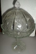 EAPG Paneled Thistle Glass Footed Candy Dish Compote w/Lid Higbee? LR