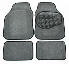 Fiat Seicento (98-04) Grey & Black 650g Carpet Car Mats - Rubber Heel Pad
