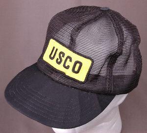 USCO Hat-All Mesh-Snapback-Patch-Trucker Cap-Black Yellow-Vintage ... 78f676a1103f