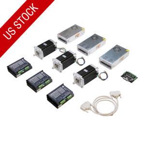 US-freeSHIP-3Axis-Nema34-Stepper-Motor-1600oz-in-single-shaft-CNC-Router-kits