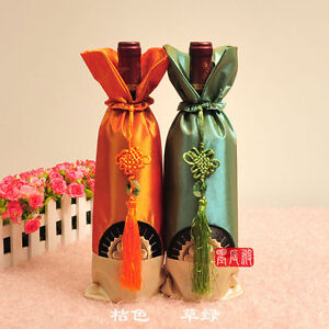 Wholesale-10pcs-CHINESE-Classic-Embroidered-Sun-Flower-Wine-Bottle-Cover