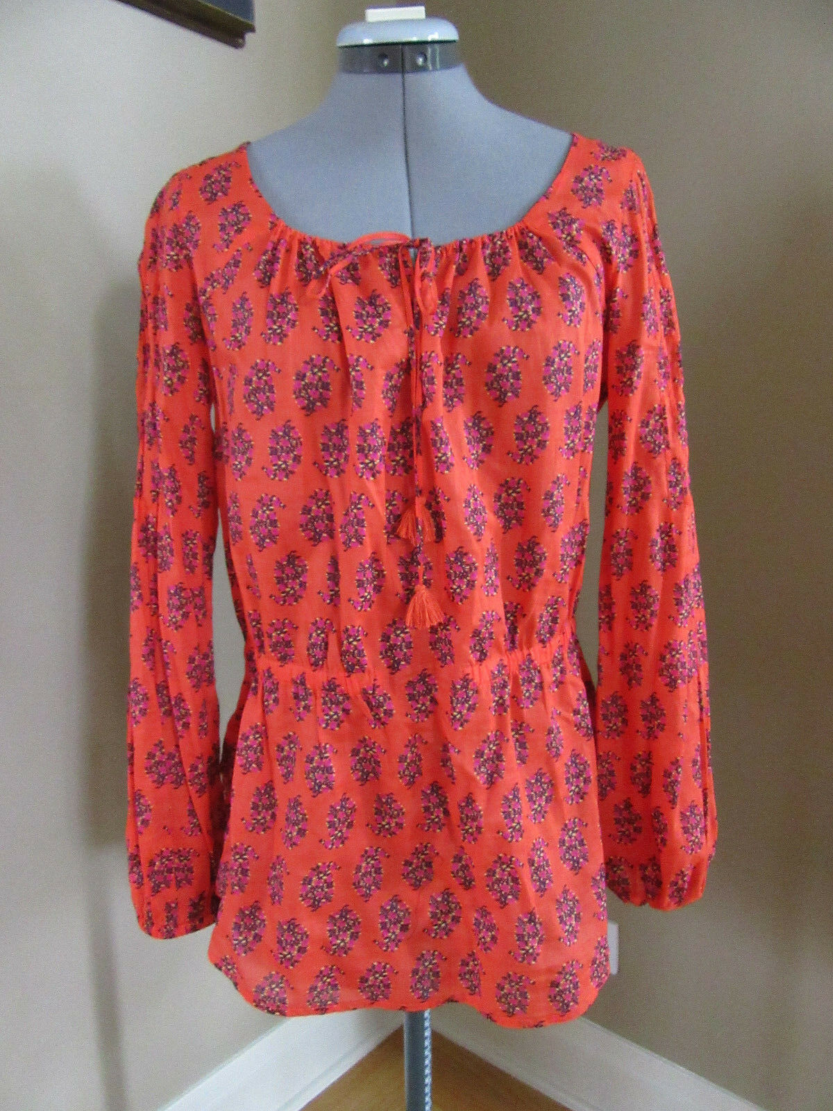 New TORY BURCH 100% Cotton rot Peasant Blouse Tunic Top Größe 6