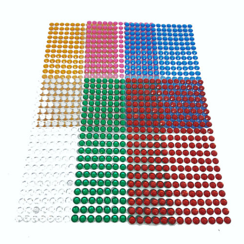6 Sheets Colours Self Adhesive Diamante 5mm Stick on Crystals Rhinestone Gems