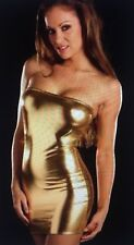 Women Sexy Night Evening Party Stripper Cocktail Club Mini Dress S/M Gold