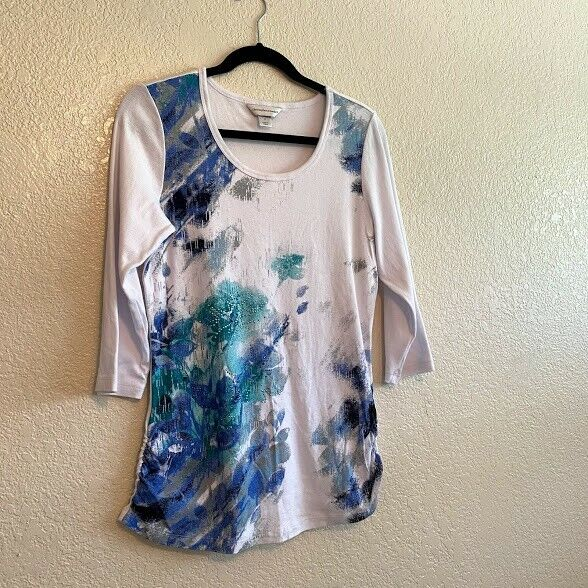 Christopher & Banks Size M White w/Florals Rhines… - image 1