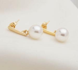 Ohrhanger-2-Stuck-Gold-ge-Ohrring-Perle-Damenschmuck-Ohrstecker-Perlen-Hochzeit