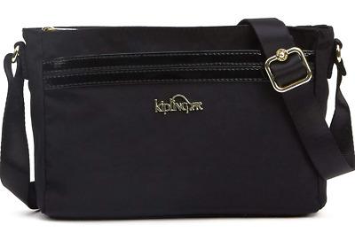 Kipling Nwt Nero Jude a Tracolla Vernice Combo Cinghia Regolabile Zip Oro Top   eBay