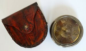 Nautical Brass Pocket 100 Year Calender Compass With Brown Leather Box