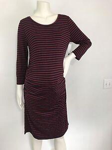 5489172996568 Liz Lange Maternity Striped Knit 3/4 Sleeve Dress Size M   eBay