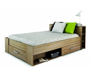 bett jugendbett futonbett kinderbett schubladen 140x200 cm eiche s gerau nb ebay. Black Bedroom Furniture Sets. Home Design Ideas
