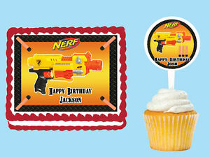 Nerf-Gun-Wars-Edible-Birthday-Party-Cake-Cupcake-Toppers-Plastic-Picks-Stickers