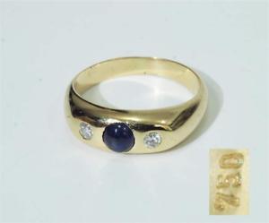 Bandring-mit-2-Brillanten-von-zus-ca-0-10-ct-1-blauer-Saphir-in-750-Gelbgold