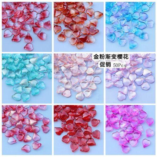 50Pcs 13x15mm Czech Glass Peach Heart Petals Pressed Beads HH6625 CHOOSE COLOR